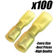 100x YELLOW 6.3mm HEAT SHRINK FEMALE SPADE INSULATED TERMINAL ELECTRICAL CRIMP